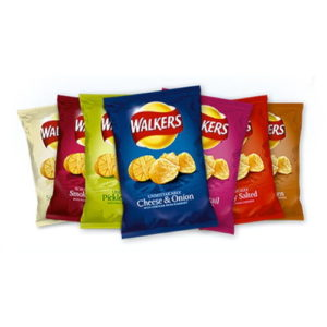 Walkers - Cheese & Onion - Prawn Cocktail - Pickled Onion - Worcester Sauce - Tomato Ketchup - Ready Salted - Smokey Bacon - Roast Chicken - Salt & Vinegar